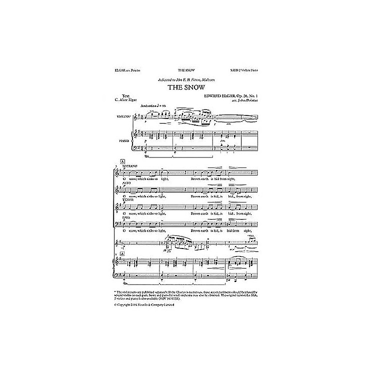Novello The Snow SATB Composed by C. Alice Elgar Arranged by John Pointer
