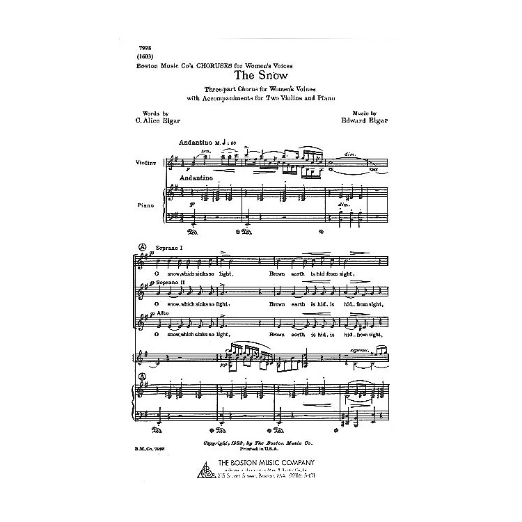 Boston MusicThe Snow SSA Composed by C. Alice Elgar