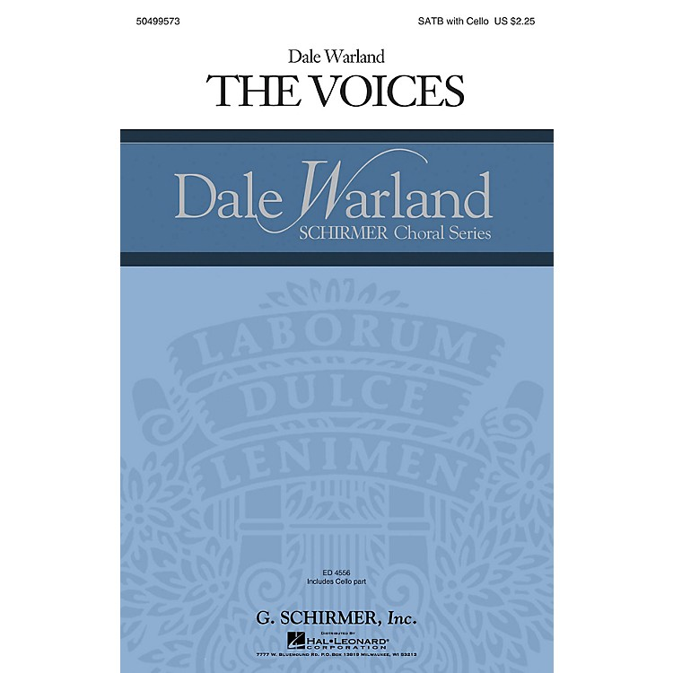G. SchirmerThe Voices (Dale Warland Choral Series) SATB with Cello composed by Dale Warland