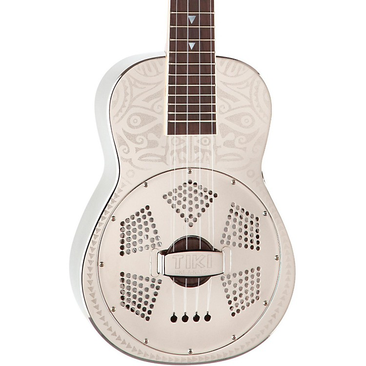Luna GuitarsTiki Resonator Concert UkuleleChrome Plated