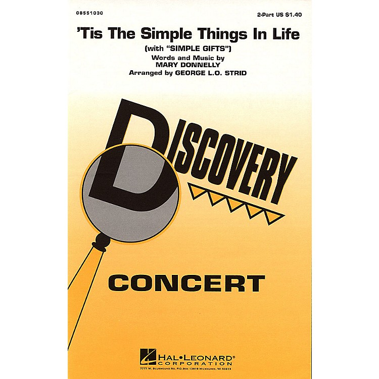 Hal Leonard'Tis the Simple Things in Life (with Simple Gifts) 2-Part arranged by George L.O. Strid
