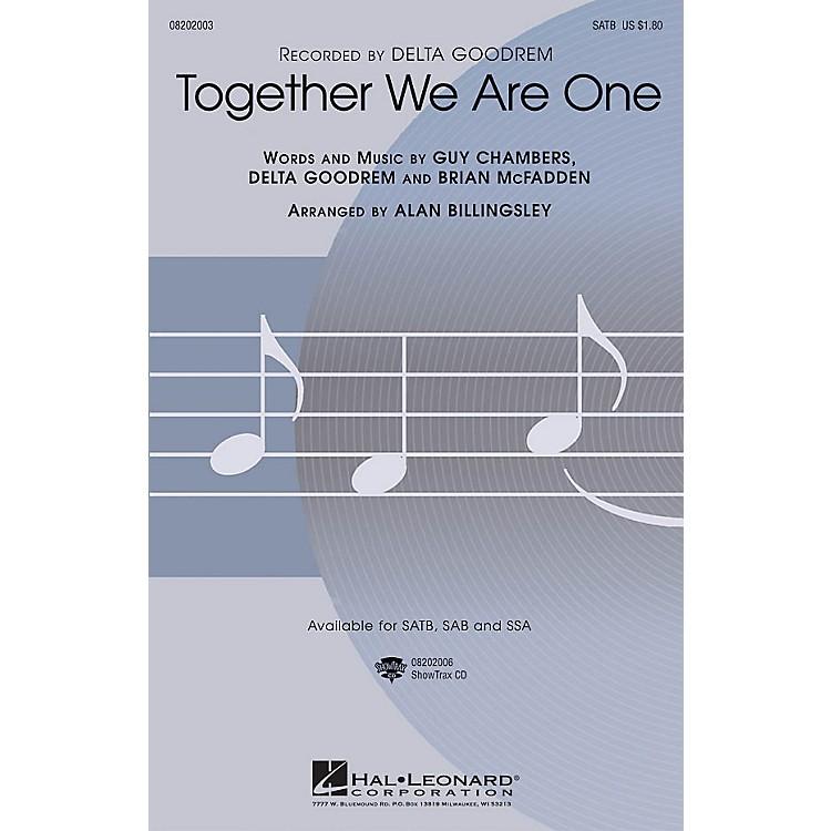 Hal LeonardTogether We Are One SAB by Delta Goodrem Arranged by Alan Billingsley