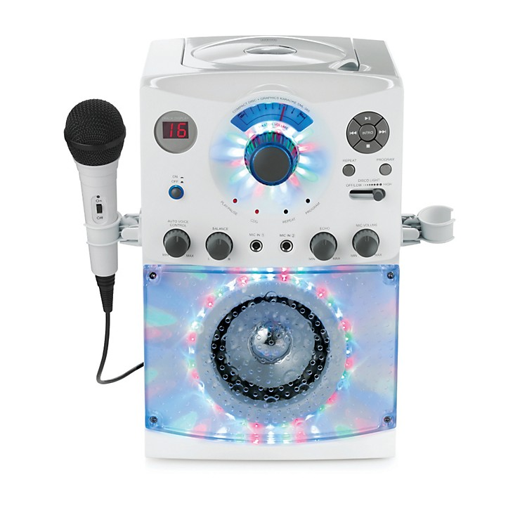 The Singing MachineTop Load Karaoke System with Disco LightsWhite