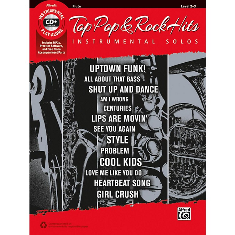 AlfredTop Pop & Rock Hits Instrumental Solos Flute Book & CD
