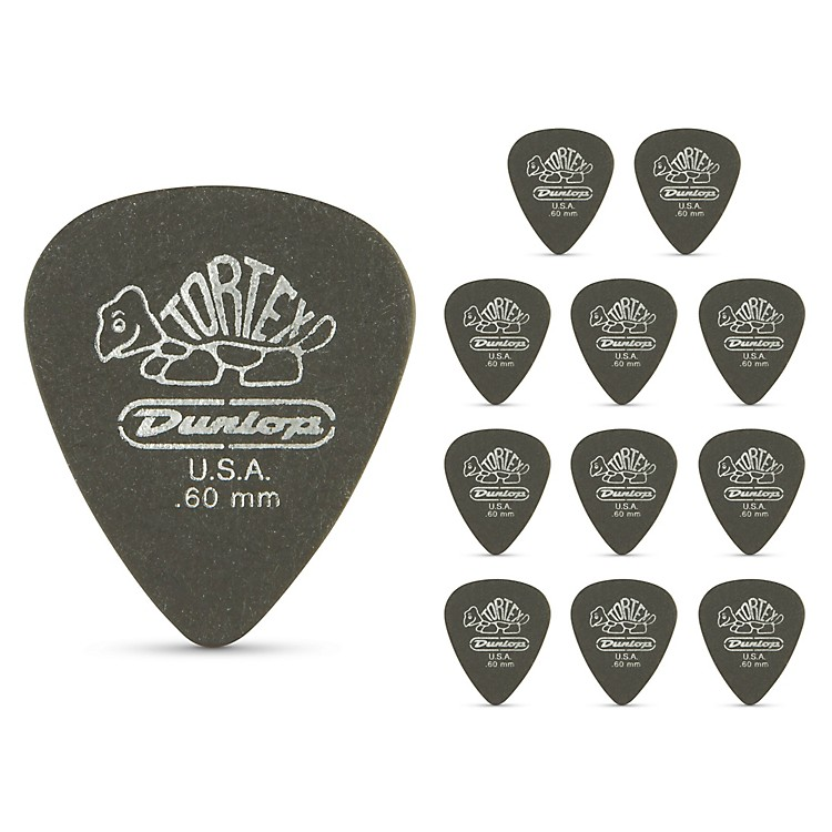 Dunlop Tortex Pitch Black Standard Guitar Picks 1 Dozen .60 mm