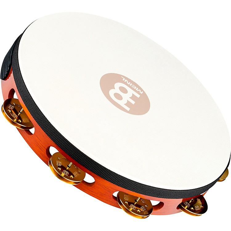 Meinl Traditional Goat-Skin Wood Tambourine Single Row Brass Jingles