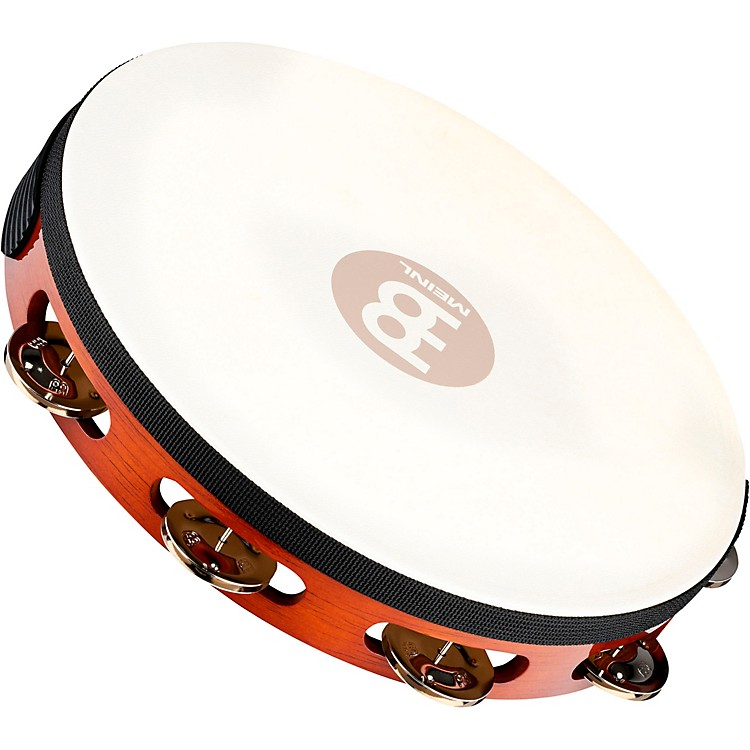 Meinl Traditional Goat-Skin Wood Tambourine Single Row Steel Jingles