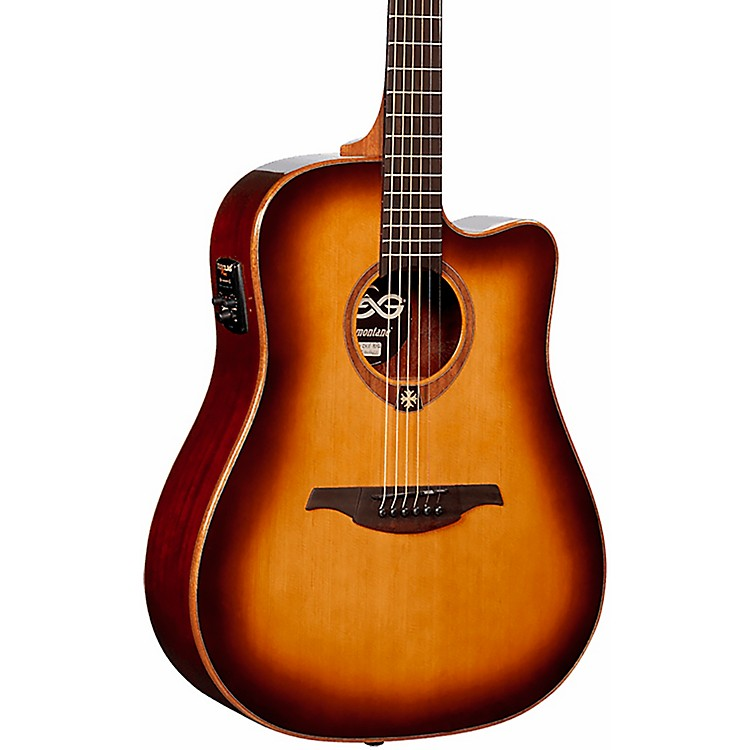 Lag Guitars Tramontane T100DCE Dreadnought Cutaway Acoustic-Electric Guitar Brown Sunburst