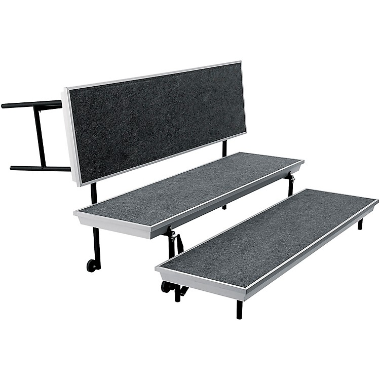 National Public Seating TransPort Straight Choral Riser 3-Level Grey Carpet