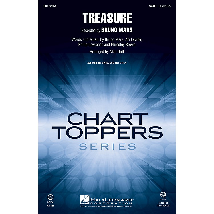 Hal Leonard Treasure SAB by Bruno Mars Arranged by Mac Huff