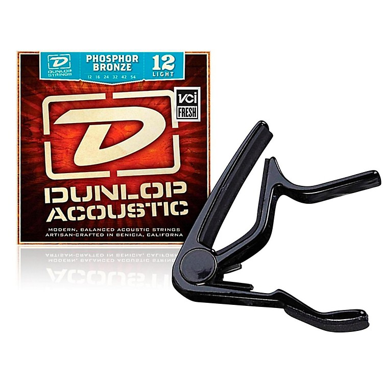 Dunlop Trigger Flat Black Capo and Phosphor Bronze Light Acoustic Guitar Strings
