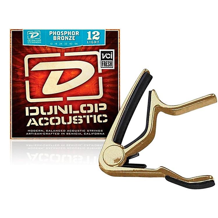 DunlopTrigger Flat Gold Capo andPhosphor Bronze Light Acoustic Guitar Strings