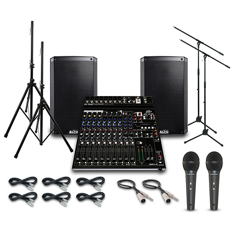 AltoTruesonic TS210 with Peavy PV14AT Mixer PA System