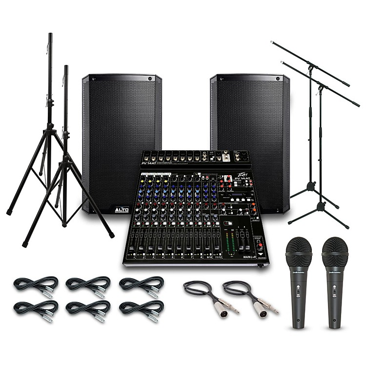 AltoTruesonic TS212 with Peavy PV14AT Mixer PA System