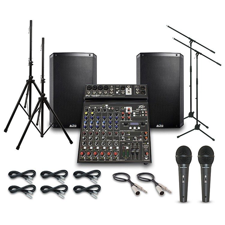 AltoTruesonic TS215 with Peavy PV10BT Mixer PA System