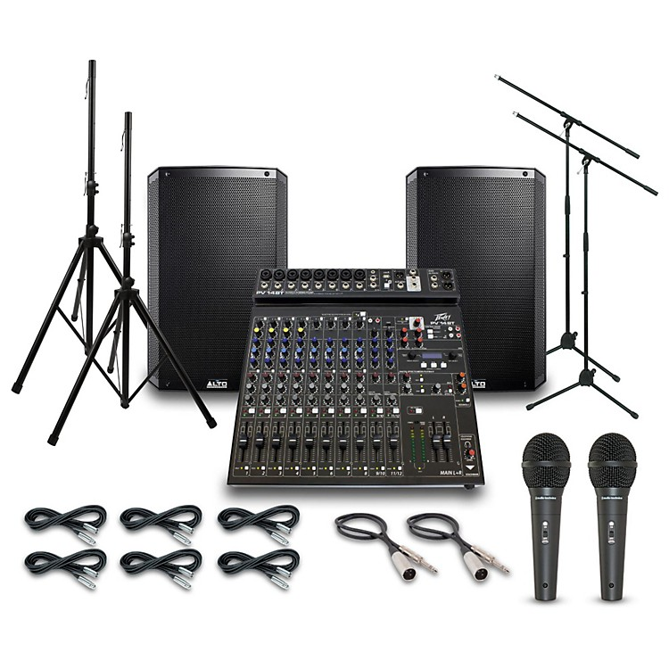 AltoTruesonic TS215 with Peavy PV14BT Mixer PA System