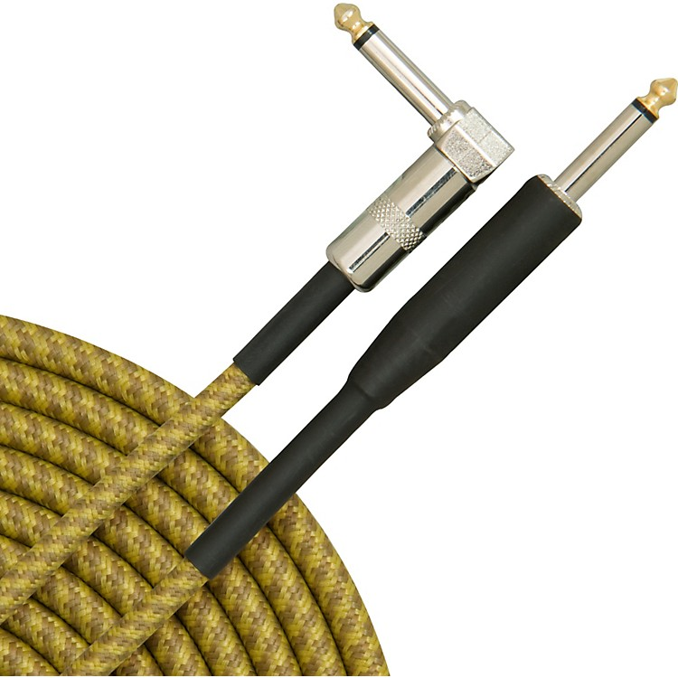 Musician's Gear Tweed Right Angle Instrument Cable Gold 20 ft.