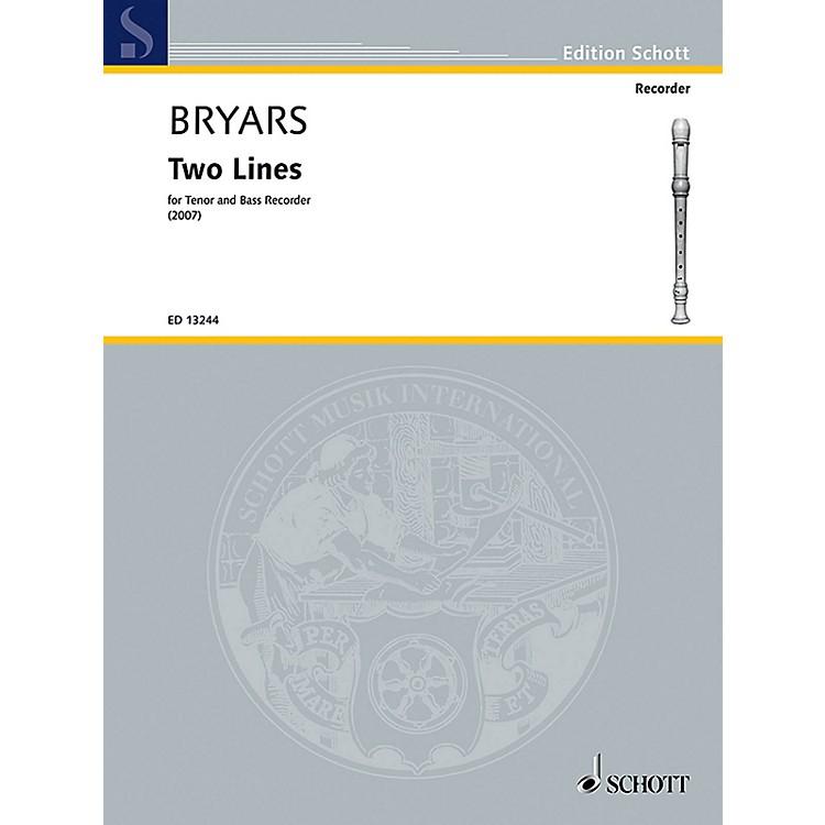 SchottTwo Lines (Tenor and Bass Recorder) Schott Series by Gavin Bryars