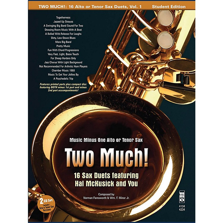 Music Minus OneTwo Much! 16 Duets for Saxophone Music Minus One Series Book with CD