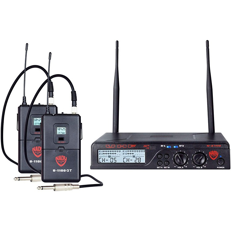 Nady U-2100 GT - Dual Channel UHF Wireless Guitar/Instrument System Band A and B