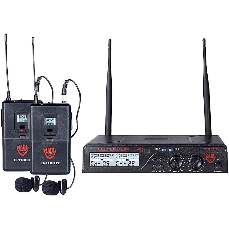 Nady U-2100 LT - Dual Channel UHF Wireless System with Omnidirectional Lavalier/Lapel Microphone Band A and B