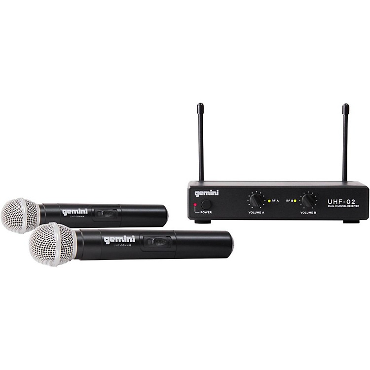 Gemini UHF-02M 2-Channel Wireless Handheld Microphone System S12