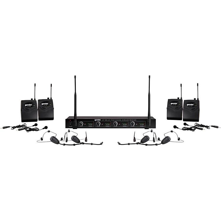 GeminiUHF-04HL 4-Channel Wireless Headset/Lavalier Combo SystemS1234
