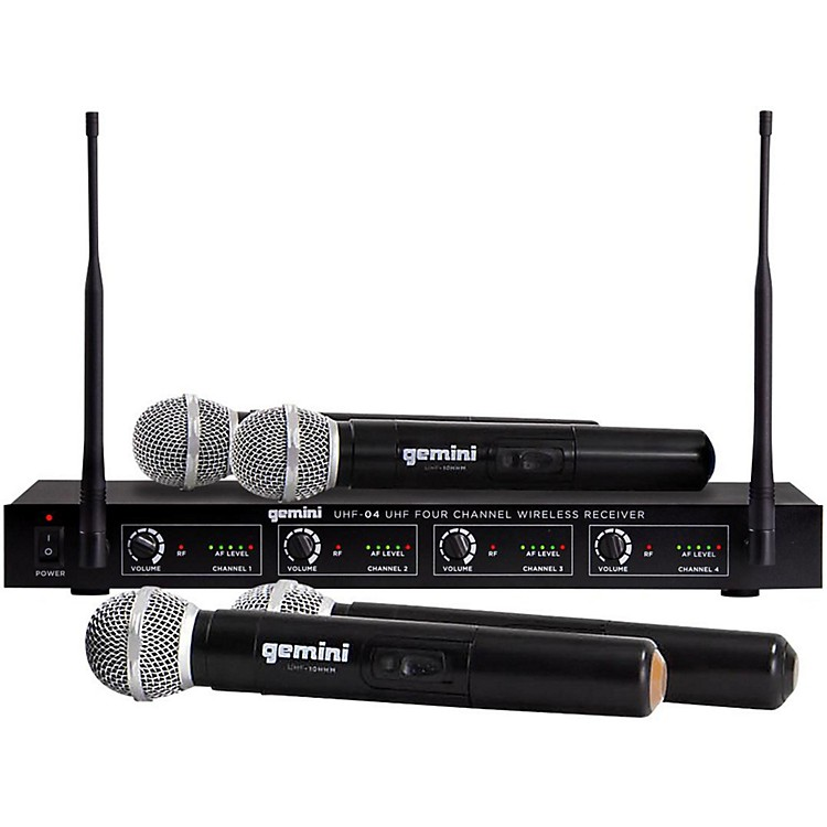 GeminiUHF-04M 4-Channel Wireless Handheld Microphone SystemS1234