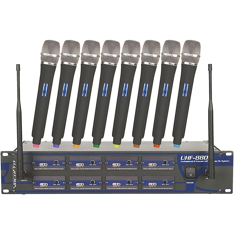 VocoPro UHF-8800 Plus 8-Channel Wireless System with Carrying Bag
