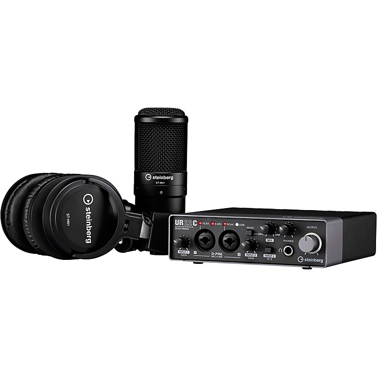 SteinbergUR22C Recording Pack with 2IN/2OUT USB 3.0 Type C Audio Interface, Microphone & Headphones