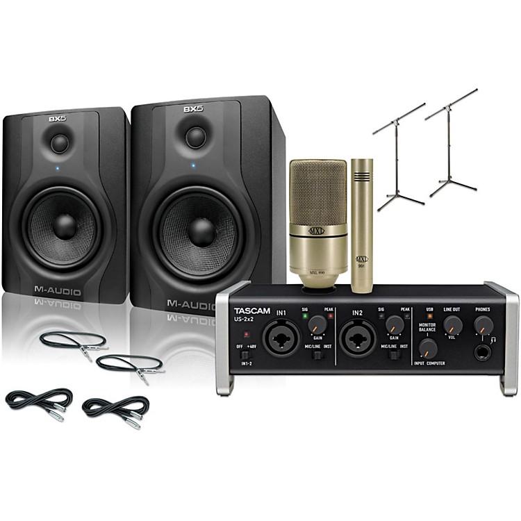 TascamUS-2x2 MXL 990/991 M-Audio BX5 Recording Package