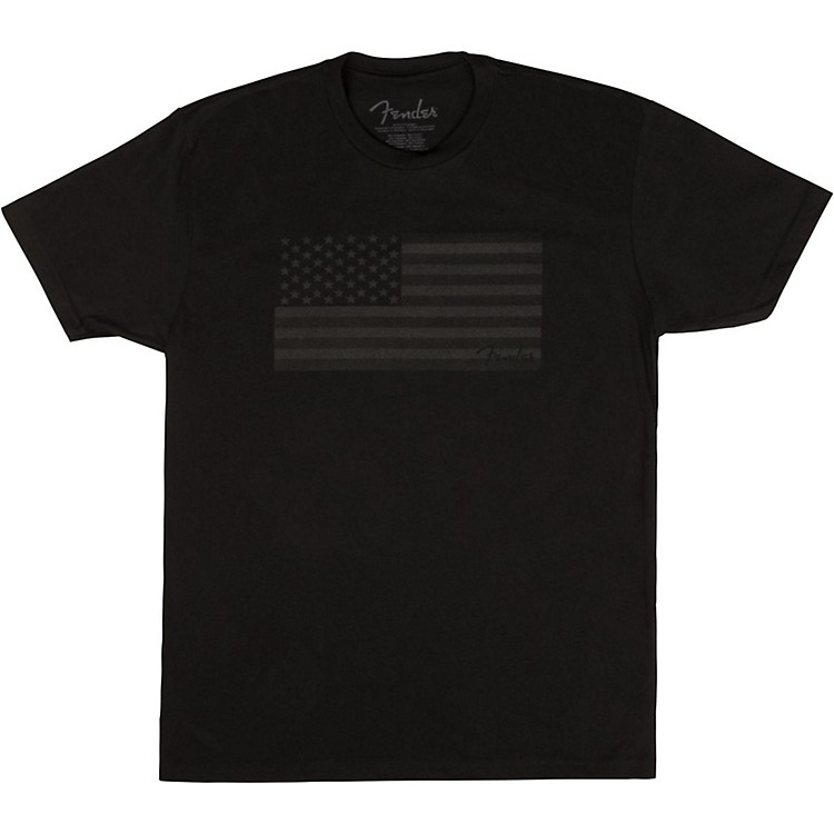 Fender USA Flag Blackout T-shirt Large Black