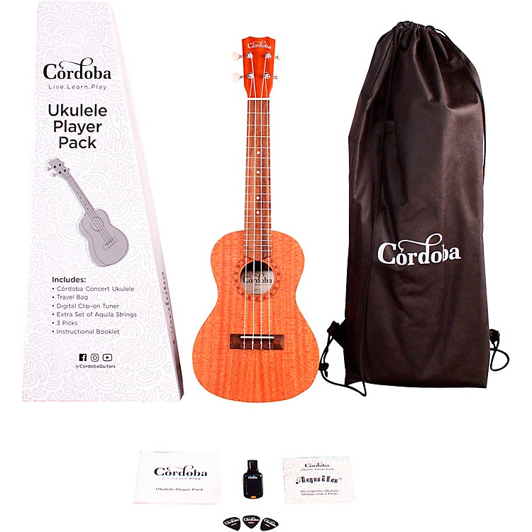 Cordoba Ukulele Player Pack - Concert Ukulele Natural