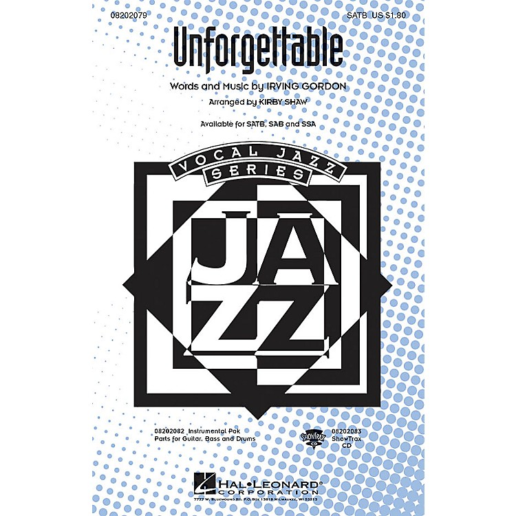 Hal Leonard Unforgettable SATB arranged by Kirby Shaw