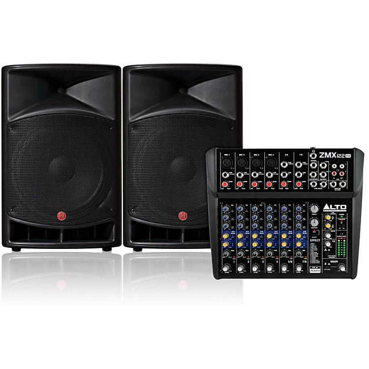 HarbingerV2115 Loudspeaker with Alto Pro ZMX122FX 8-Channel Mixer