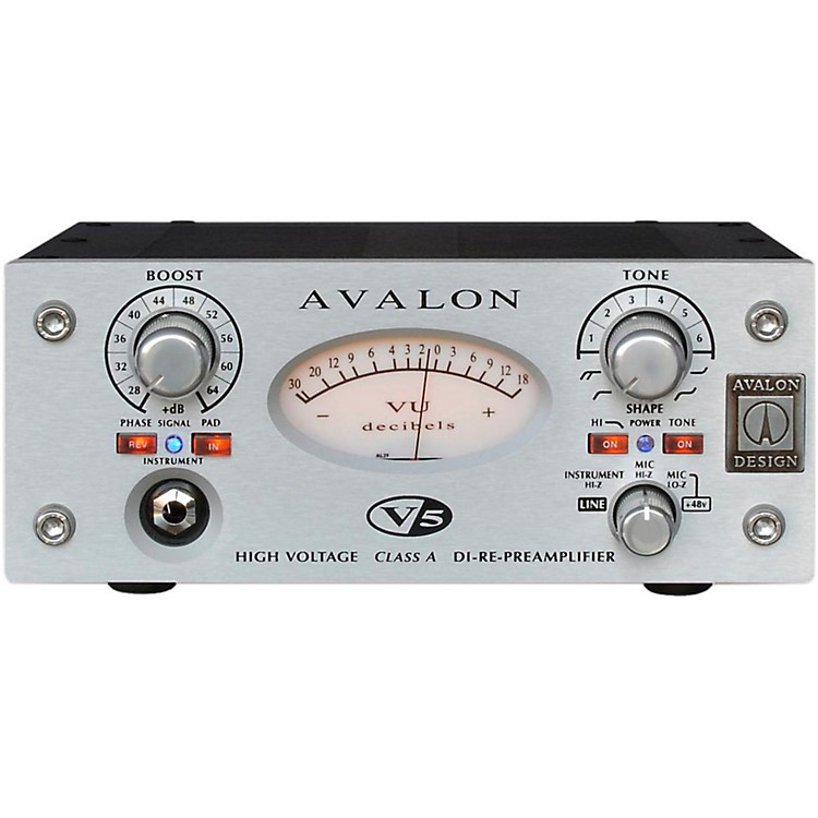 Avalon V5 Pure Class A Mono Mic-Line Pre-Re-Amp & DI Silver