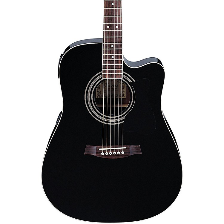 ibanez v70ce acoustic electric guitar black music123. Black Bedroom Furniture Sets. Home Design Ideas