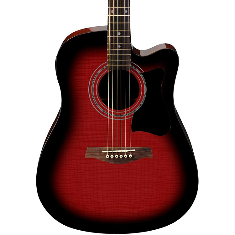 Ibanez V70FMCE Dreadnought Cutaway Acoustic-Electric Guitar Transparent Red Sunburst