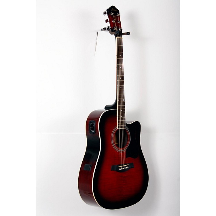 Ibanez V70FMCE Dreadnought Cutaway Acoustic-Electric Guitar Transparent Red Sunburst 888365801216