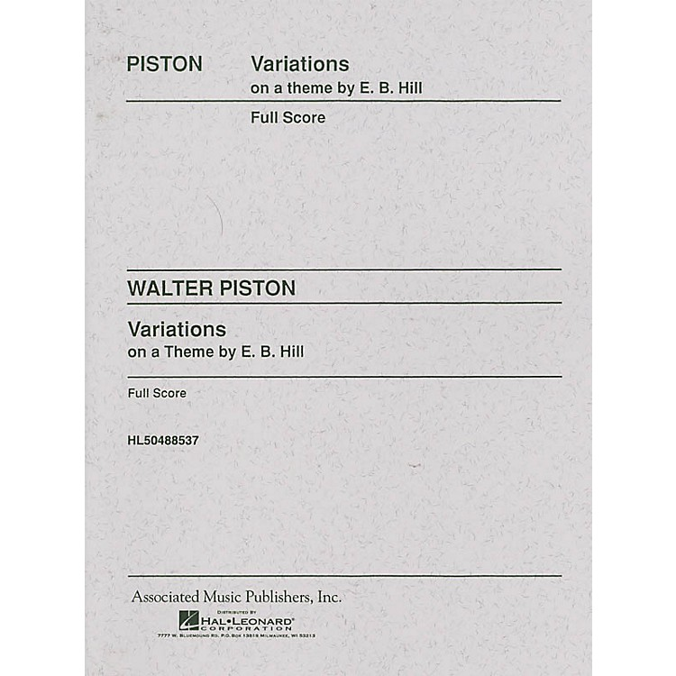 Associated Variations on a Theme by Edward Burlingame Hill (Full Score) Study Score Series Composed by Walter Piston