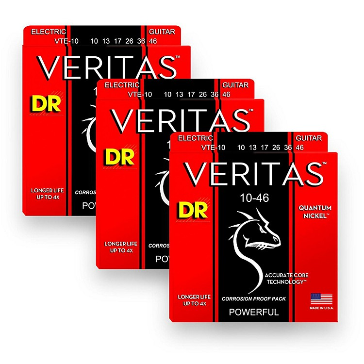 DR StringsVeritas - Accurate Core Technology Medium Electric Guitar Strings (10-46) 3-PACK