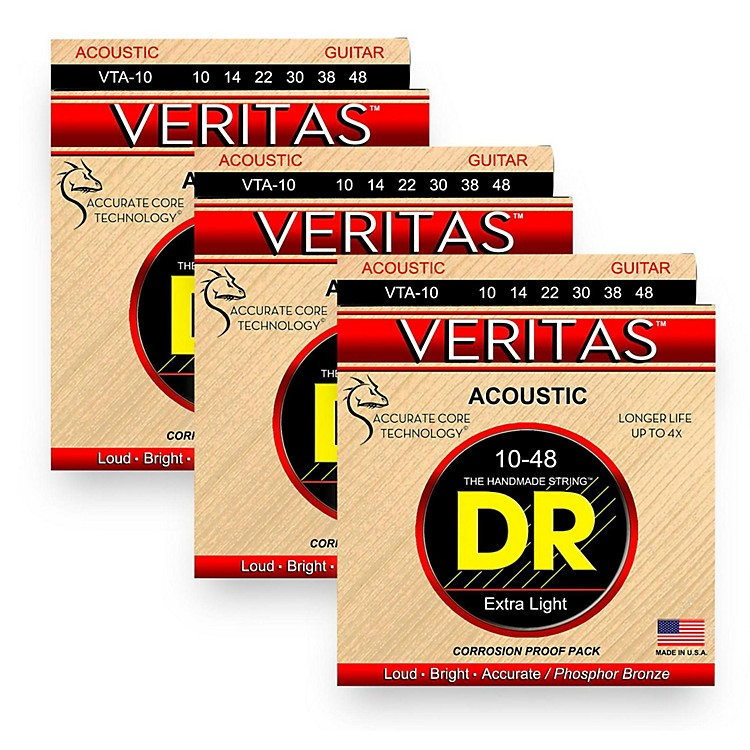 DR StringsVeritas - Perfect Pitch with Dragon Core Technology Custom Light Acoustic Strings (10-48) 3 Pack