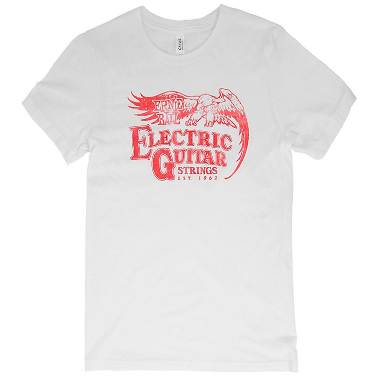 Ernie Ball Vintage Electric Guitar Strings Red Font T-Shirt Medium White