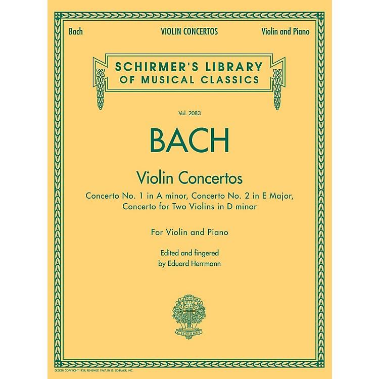 G. SchirmerViolin Concertos (A Minor, E Major, D Minor for Two Violins) Violin/Piano By Bach