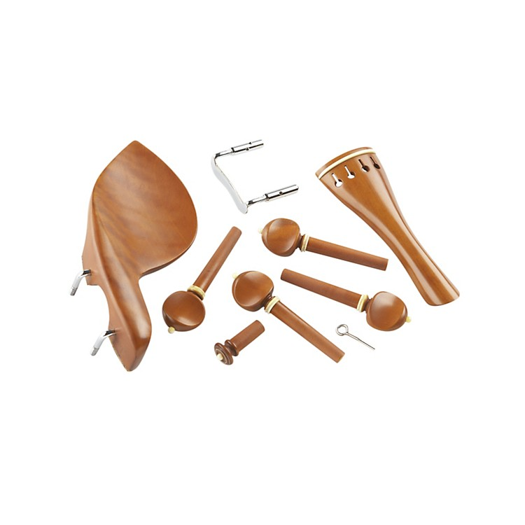 AcuraViolin Pegs, Tailpce, Endbutton, Chinrest SetBoxwood, White Trim