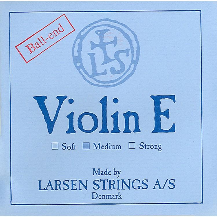 Larsen Strings Violin Strings E, Goldplate Loop, Medium 4/4 Size
