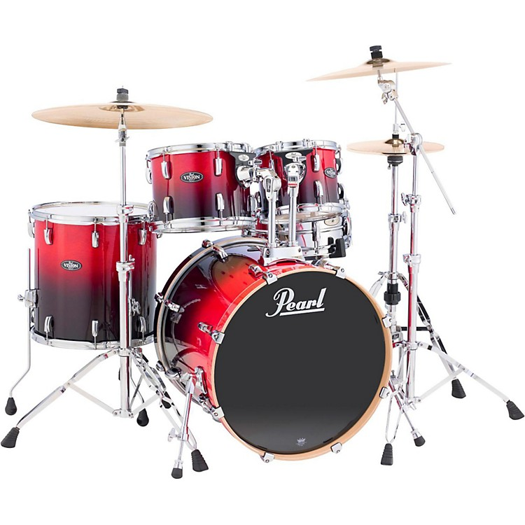 Pearl Vision Birch Lacquer 5-Piece New Fusion Shell Pack Ruby Fade