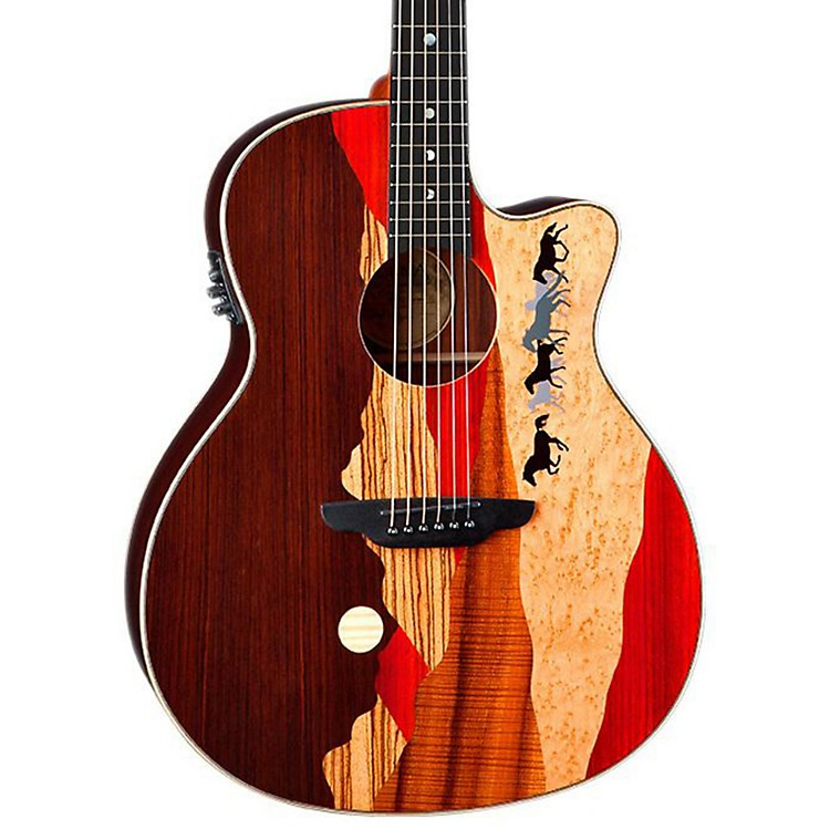 Luna Guitars Vista Mustang Rosewood Back and Sides Acoustic-Electric Guitar  888365795201
