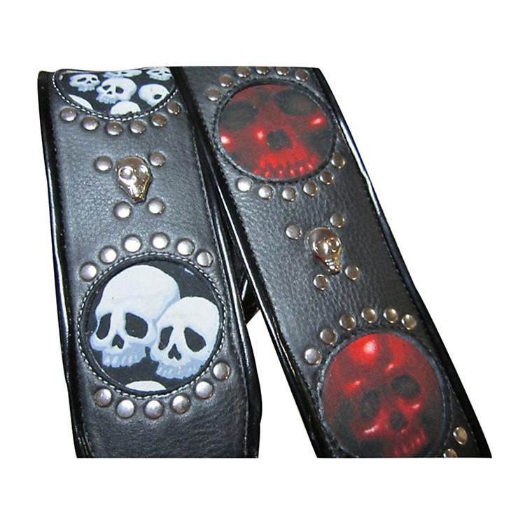 Jodi HeadVoodoo Jessee Red Skull with Studs Guitar Strap