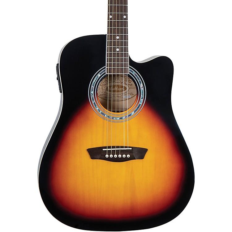 WashburnWA90CE Dreadnought Acoustic Electric GuitarVintage Tobacco Sunburst